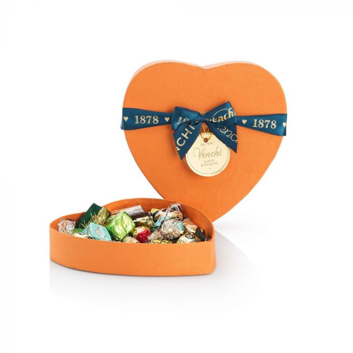 Venchi 382 gr assorted chocolates in orange heart